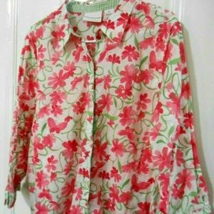 Alfred Dunner pink floral 100% cotton blouse 18